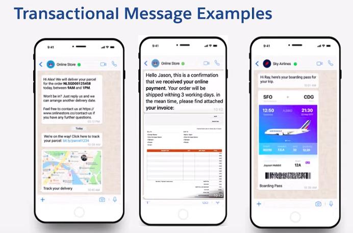 Exemples de messages transactionnels WhatsApp